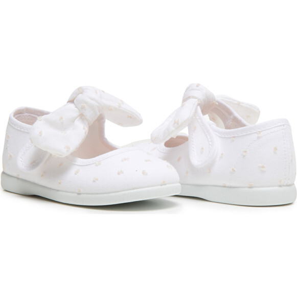 Swiss Dot Bow Mary Janes, White