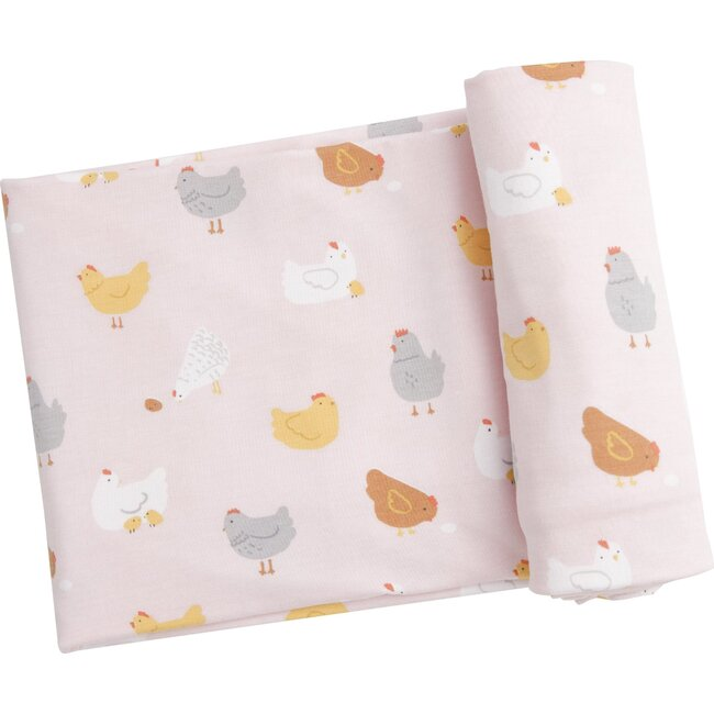 Chickens Swaddle, Pink