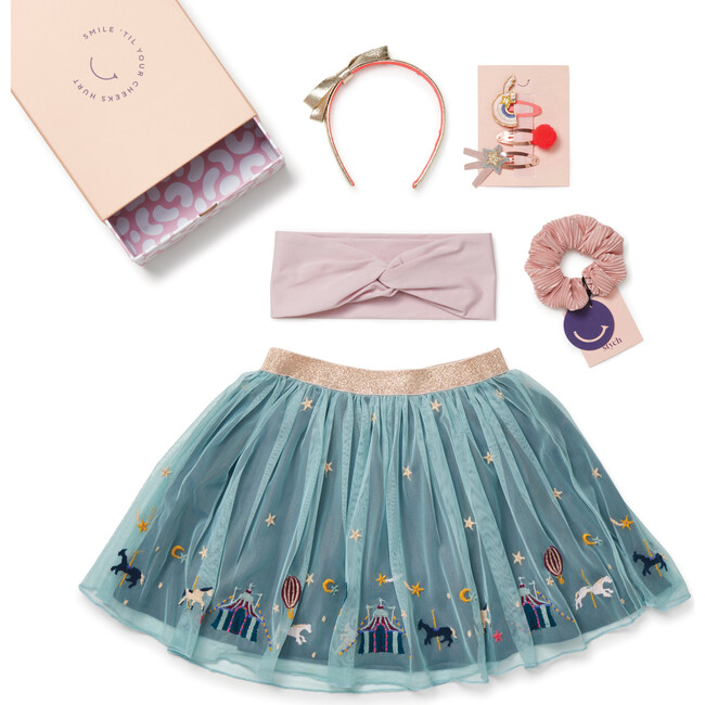 Once Upon A Time Embroidered Skirt Gift Box, Teal