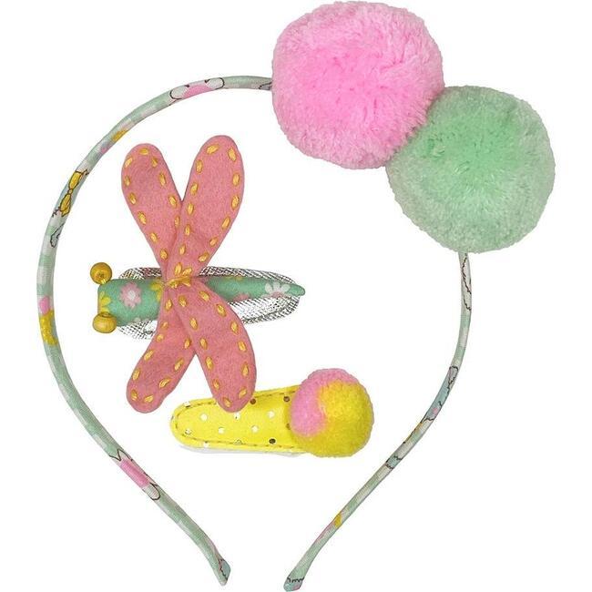 Headband & Hair Clip Set Flower, Multi