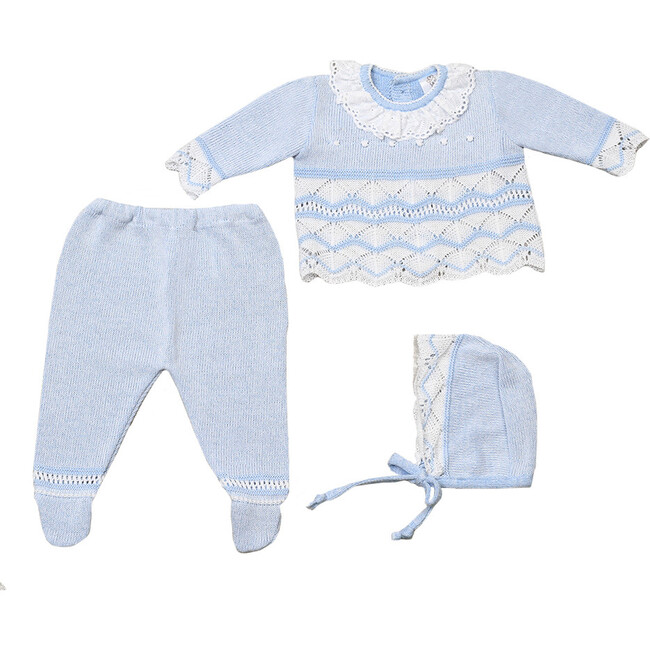 Knitted 3-Piece Set, Blue