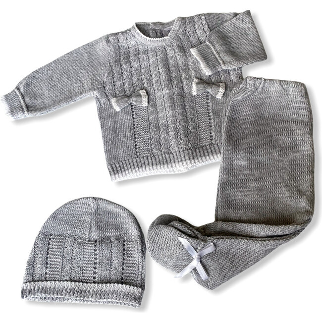 Knitted 3-Piece Set, Grey - Mixed Apparel Set - 1