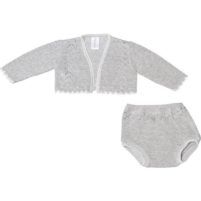 Knit Cardigan and Bloomer Set, Grey