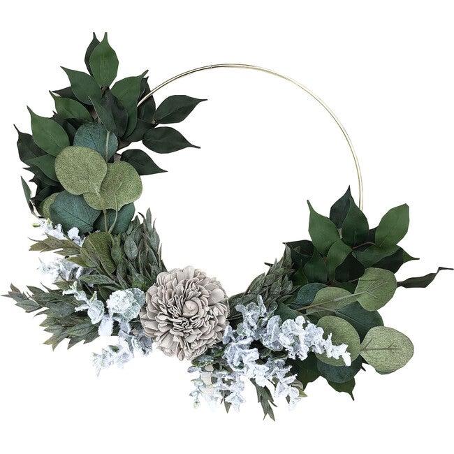 Farmhouse Hoop Wreath, Gray Dahlia - Wreaths - 1