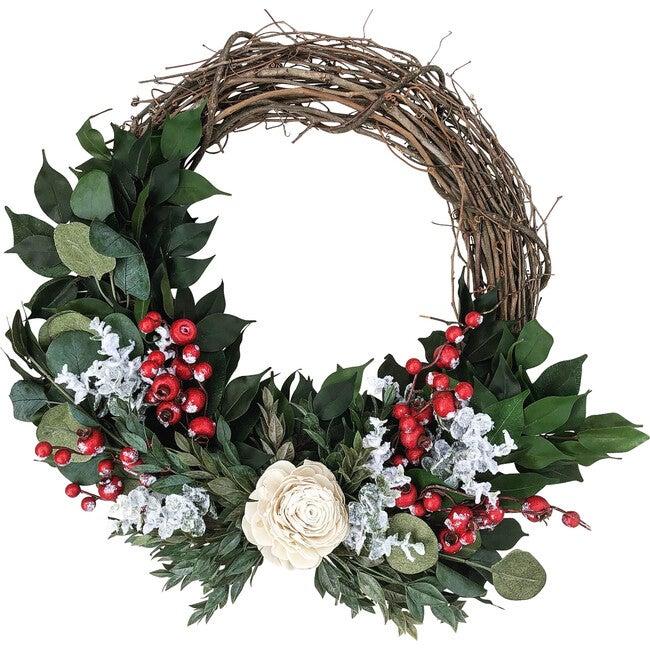 Christmas Wreath, White Rose
