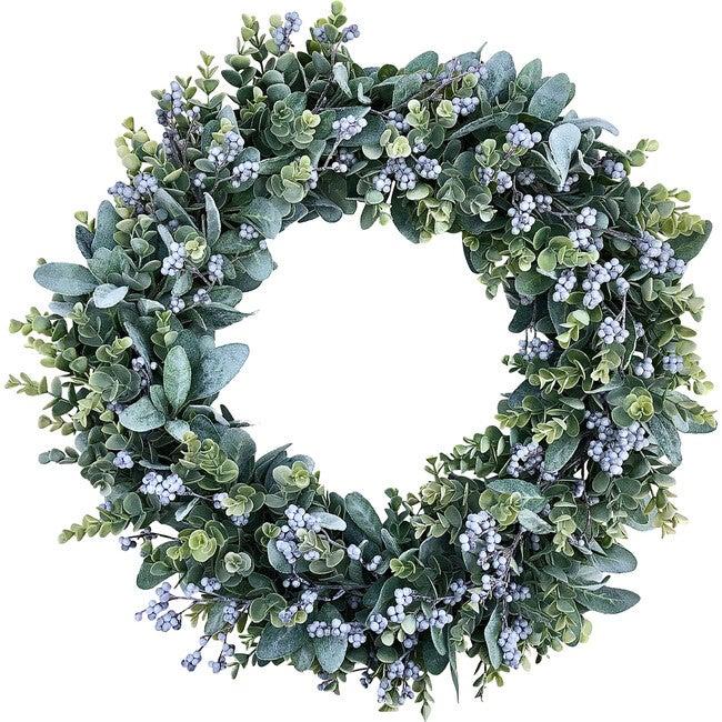 Farmhouse Spring Wreath, Gray Berries and Eucalyptus - Wreaths - 1