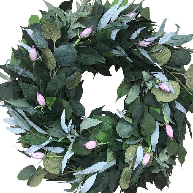 Spring Greenery Wreath, Purple Tulip