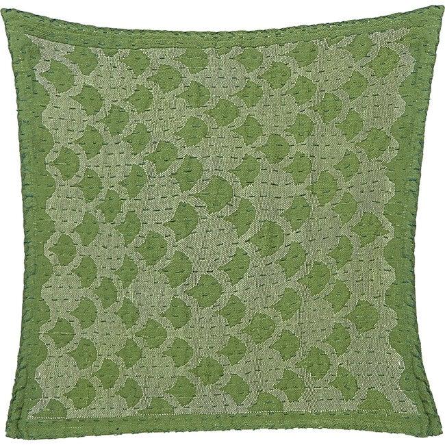 Cotton Square Pillow, Green Ginkgo