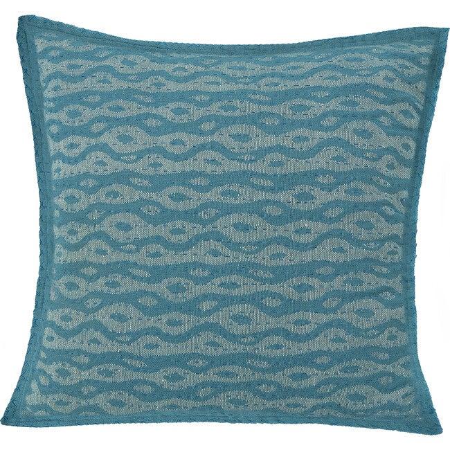 Cotton Square Pillow, Blue Ocean
