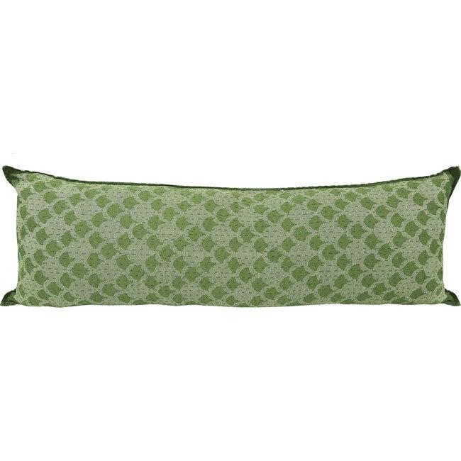 Cotton Lumbar Pillow, Green Ginkgo