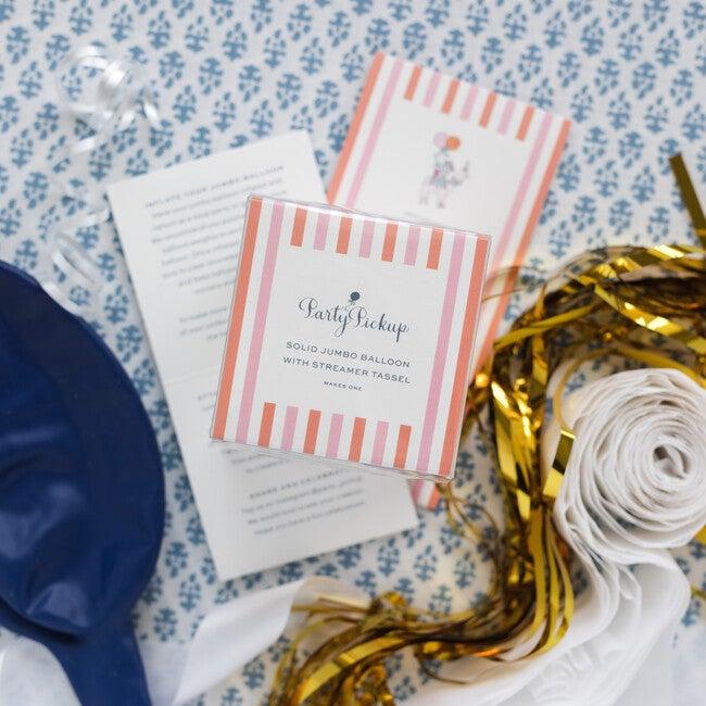 Solid Jumbo Balloon with Gold Streamer Tassel Kit, Navy Blue