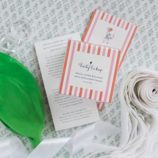 Solid Jumbo Balloon with White Streamer Tassel Kit, Lime