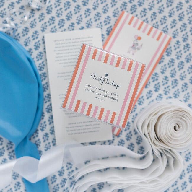 Solid Jumbo Balloon with White Streamer Tassel Kit, Light Blue