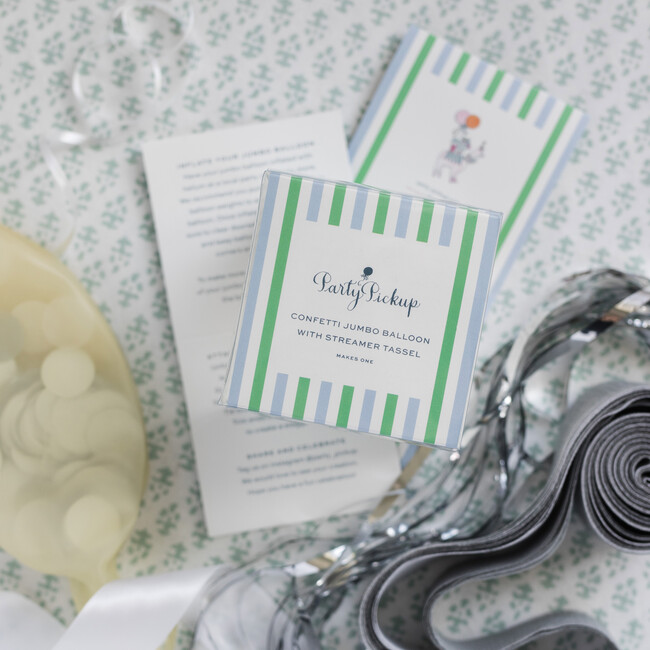 Confetti Balloon with Silver Streamer Tassel Kit, Silver Glam
