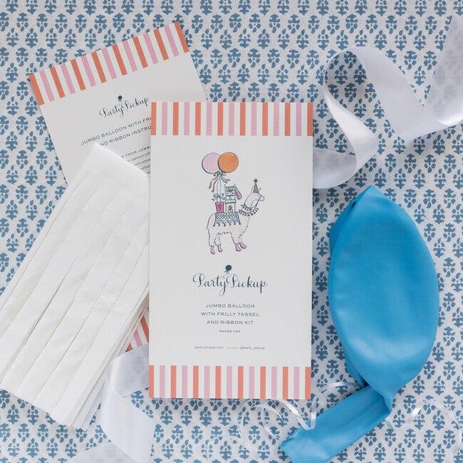 Solid Jumbo Balloon with White Frilly Tassel Kit, Light Blue