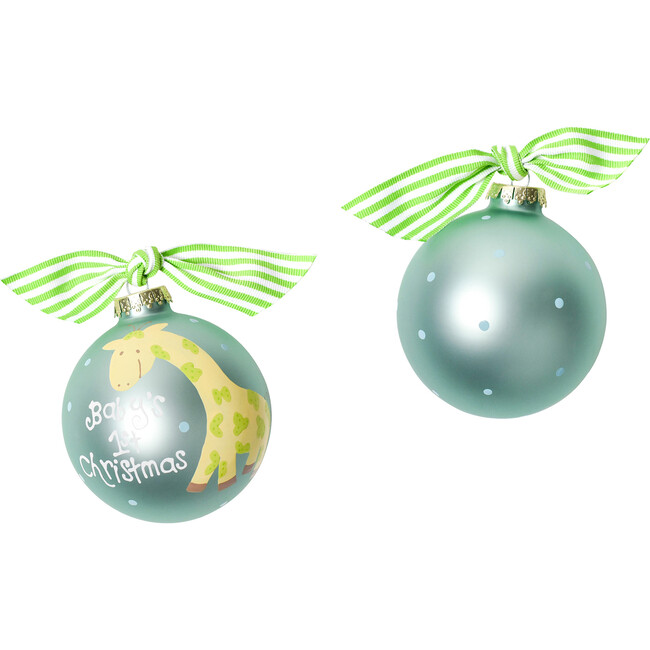 Baby's First Christmas Glass Ornament, Giraffe - Ornaments - 1
