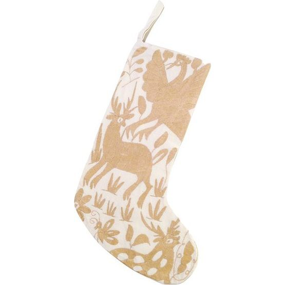 Otomi Embroidered Stocking, Natural/Beige
