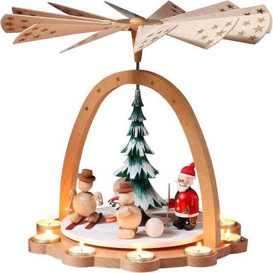Skiing Santa & Snowmen Decorative Pyramid, Large