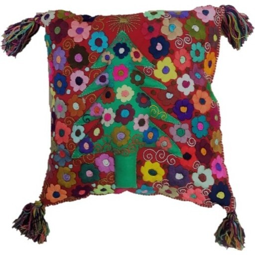 Wool Holiday Tree Pillow, Red Multi