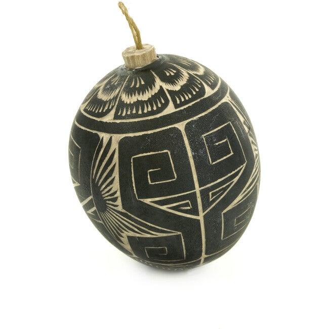 Hand Carved Gourd Ornament, Black