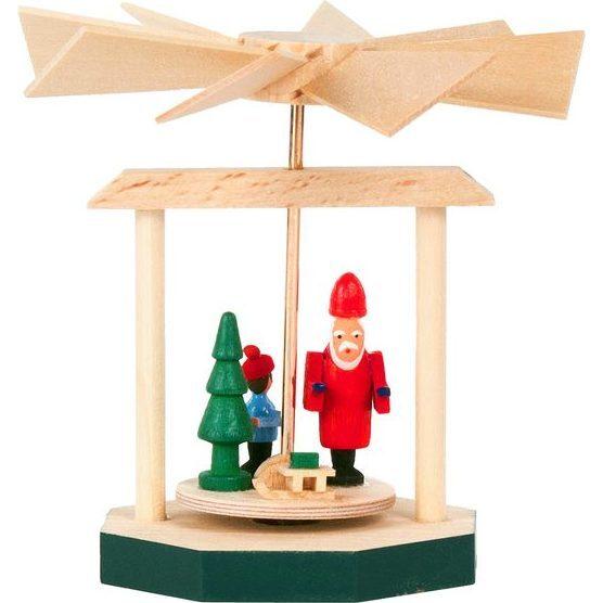 Santa and Child Mini Decorative Pyramid, Small