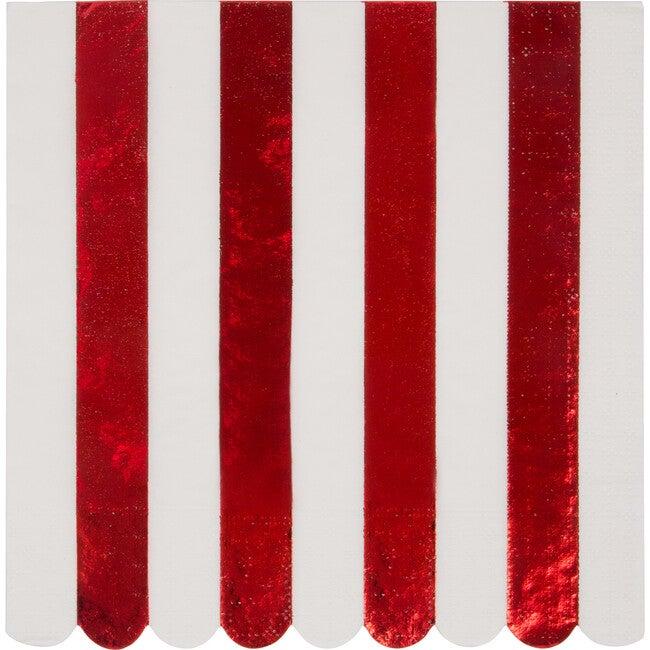 Shiny Red Stripe Napkins, Large
