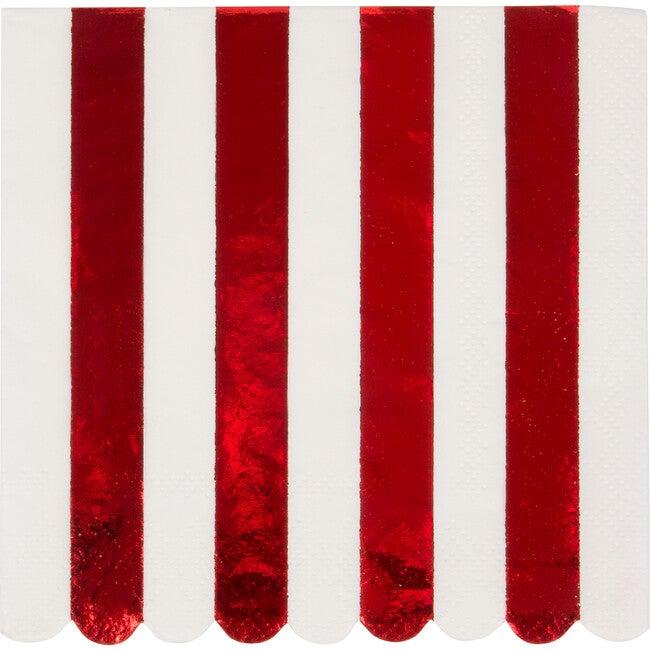 Shiny Red Stripe Napkins, Small