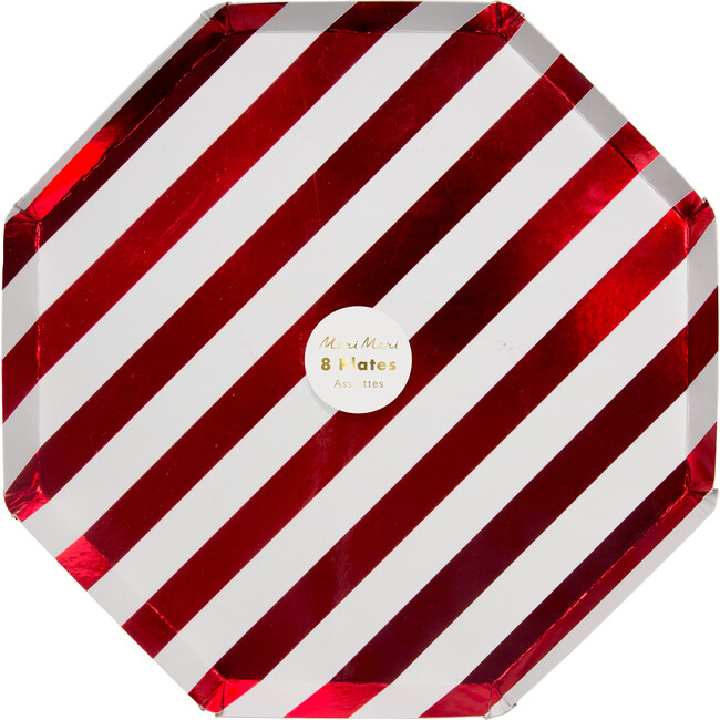 Shiny Red Stripe Dinner Plates