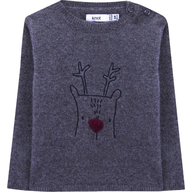 Buddy The Reindeer Baby Knitted Sweater, Cloudburst Grey