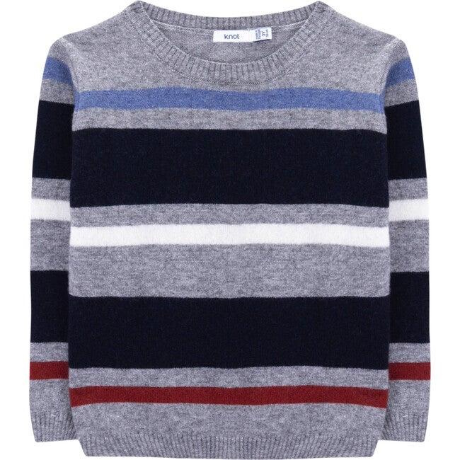 Bery Wool Sweater, Grey & Red Stripes