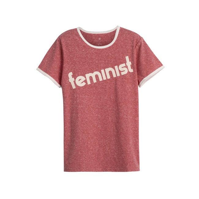Feminist Women's Ringer Tee, Vintage Red - Tees - 1
