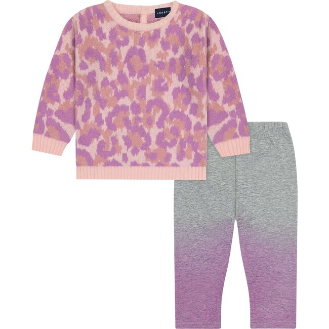 Baby Pink Leopard Sweater Set, Pink