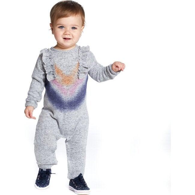Baby Ruffle Tie Dye Romper, Grey