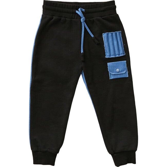Cotton and Denim Sweatpants, Black