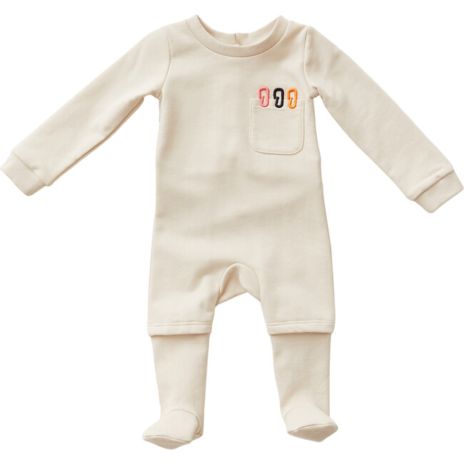 Onesie with Embroidered Paperclip Pocket, Ivory