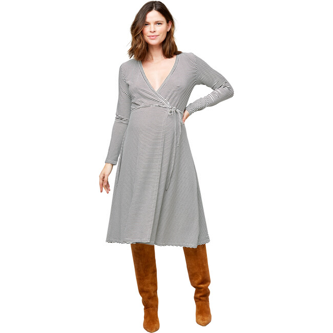 Women's Tessa Maternity + Nursing Wrap Dress, Black & White Stripes