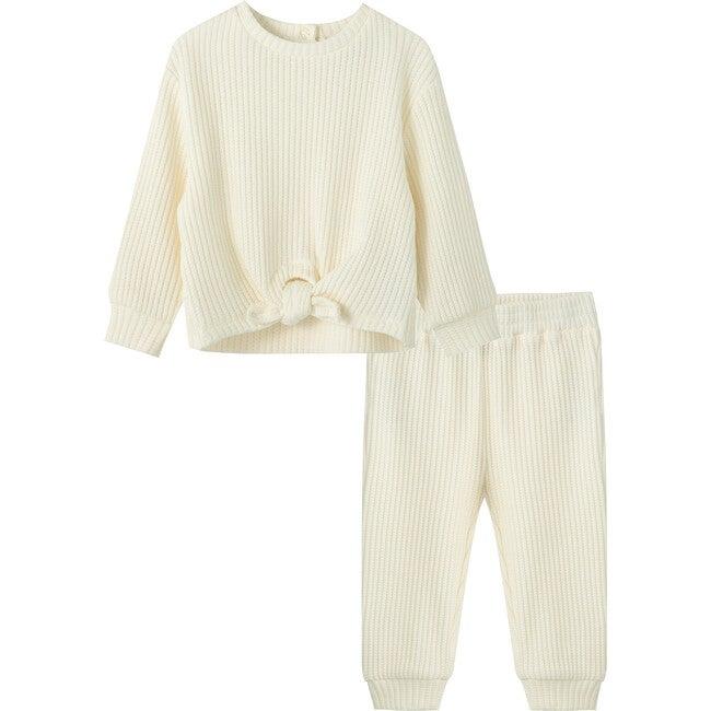 Waffle Knit Pant Set, Off-White