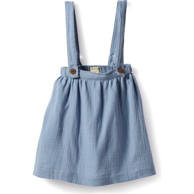 Myriam Suspenders Dress, Gauze Dust Blue