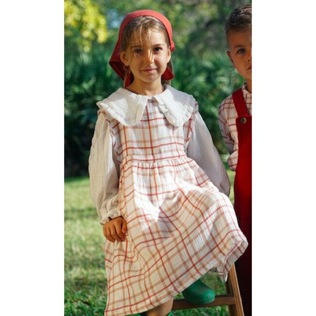Julia Dress, Gauze Red Squares