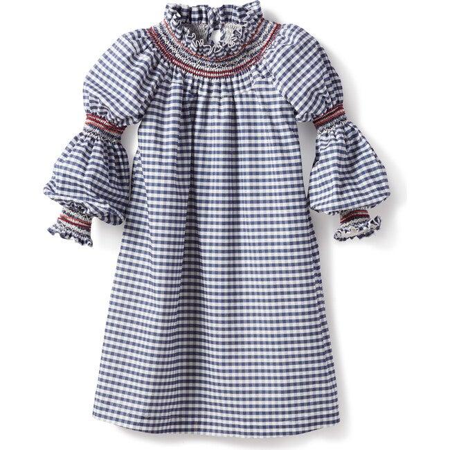 Women's Violeta Smock Dress, Poplin Gingham Petrol