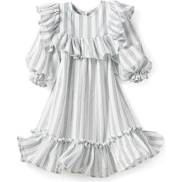 Women's Andrea Dress, Gauze Blue Stripes