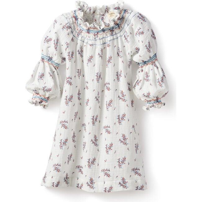Violeta Smock Dress, Gauze Flowers