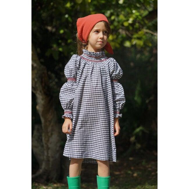 Violeta Smock Dress, Poplin Gingham Petrol