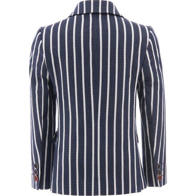 Striped Embroidered Blazer, Navy