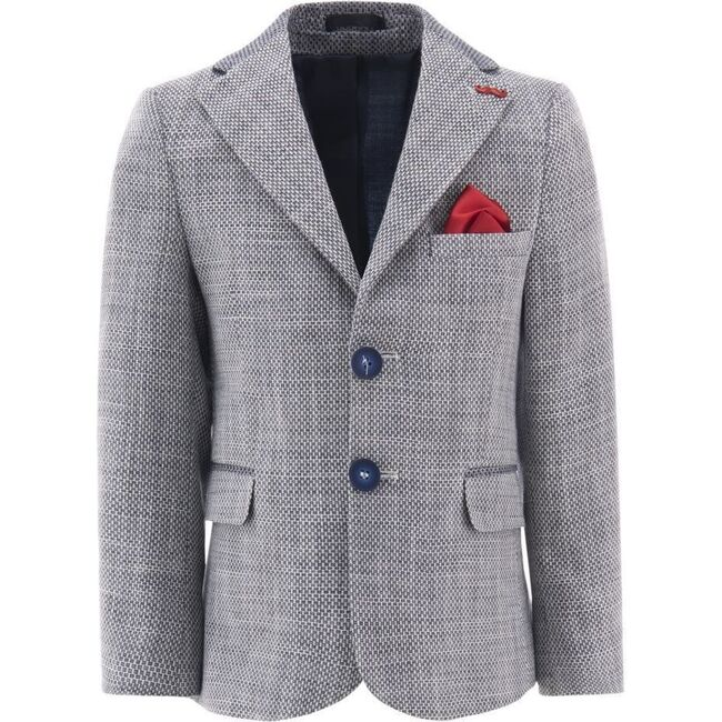 Embroidered Formal Blazer, Gray