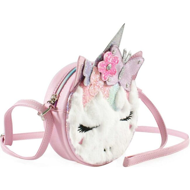 Miss Gwen Butterfly Crown Plush Round Crossbody, Pink