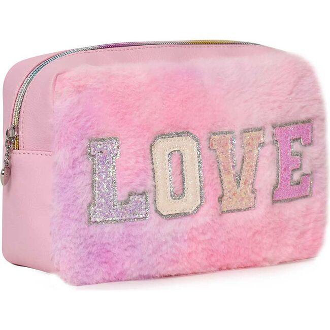 LOVE Tie Dye Plush Pouch, Pink