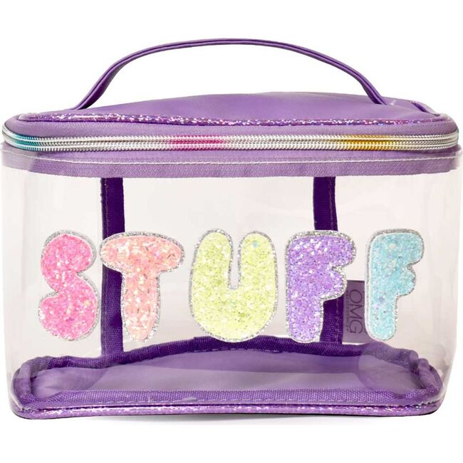 Bubble 'STUFF' Clear Glam Bag, Purple