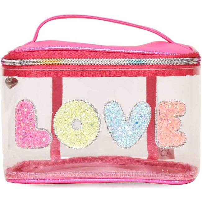 Bubble 'LOVE' Clear Glam Bag, Pink