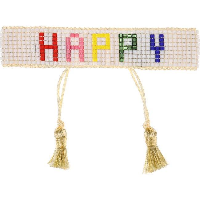 Women's HAPPY Beaded Bracelet, Rainbow
